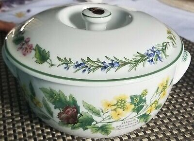 1990 Royal Worcester Herbs Covered Casserole Dish w/ Lid Black Mustard  Pattern