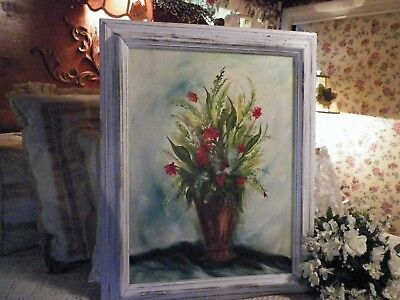 """SHABBY COTTAGE FRENCH CHIC Large Floral Oil Painting w/Frame 28-1/2""""x22-1/2"""""""
