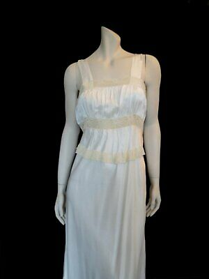 White Satin Nightgown With Lace Trim - Vintage Lingerie -1940s - Bust 91 cm