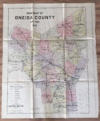 1907 Antique New York Map County  Road Oneida Reservation Canals Railroads Large