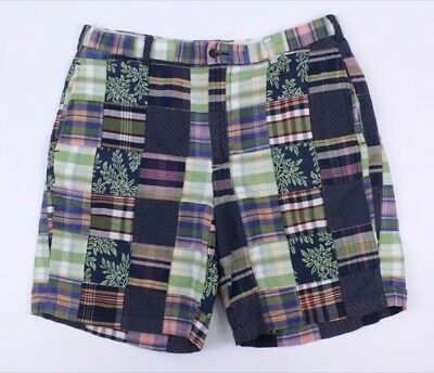 mens multi-color plaid BROOKS BROTHERS patchwork madras shorts cotton 36 x 8