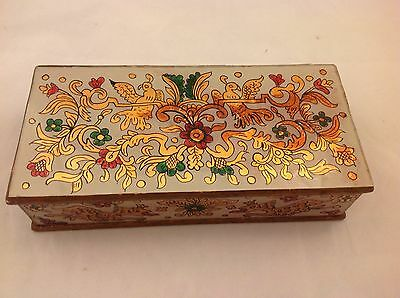 Antique Oriental? Trinket Jewelry Box w/Reverse Painted Design On Wood Handmade?