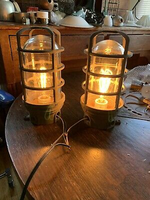 """2 Industrial Cage Light Fixtures Bunker Factory Glass  11"""" X5"""" Lamp Sconce RAB"""