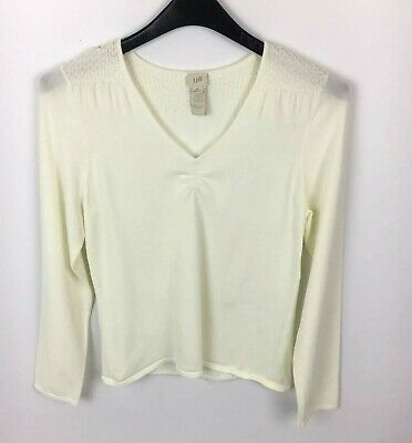 056f0440a6af5 J Jill Womens Knit Ivory Top Size Medium Cream Ivory V Neck Long Sleeve  Cotton