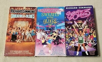 SWEATIN TO THE OLDIES Lot 3 VHS Video RICHARD SIMMONS 1 2 3 Sweating Aerobics