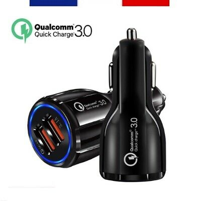 Qualcomm® Chargeur Allume-Cigare Charge Rapide 3.0 Universel 2 Ports Usb + Câble