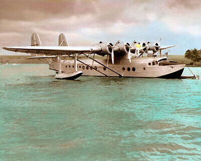 """PAN AMERICAN SAMOAN CLIPPER 1937 SIKORSKY S-42 8x10"""" HAND COLOR TINTED PHOTO"""