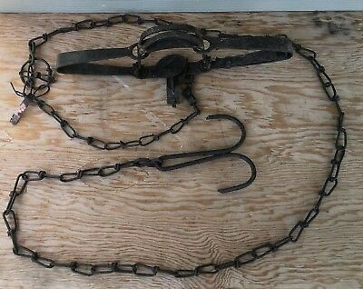 "Vintage Oneida Victor #1-1/2 Double Long Spring Trap & Chain ""Leo The Trapper"""