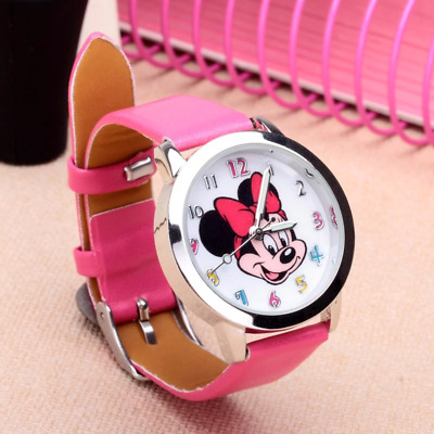 Mickey Mouse Leather Wrist Watch Lady Girl Women Teens Kids Cartoon New Watches