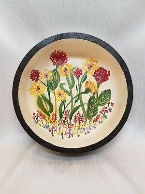 Country Primitive Folk Art Painted Wooden Bowl