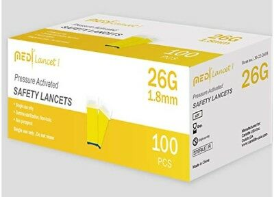 MedtLancet I Pressure Activated Safety Lancets 26G  100 ct