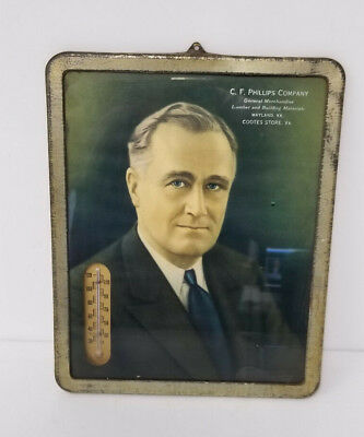 Franklin Roosevelt Picture and Thermometer Advertising piece