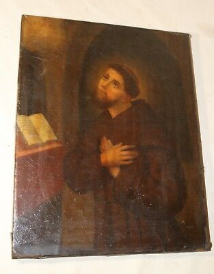 antique 18th century Saint Anthony religious oil painting on canvas 1700's