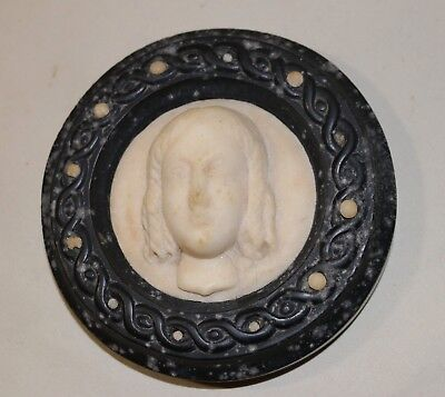 antique sculpted carved figural alabaster marble stone paper weight sculpture