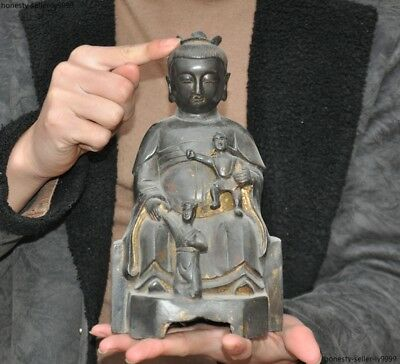 Ancient China bronze Gilt Tongzi Boy Jambhala Mammon wealth God statue sculpture