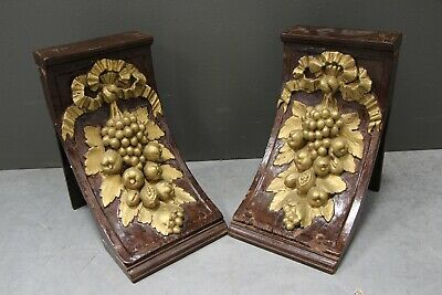 Pair large ornate 18th century carved oak corbells wall brackets gilt painted