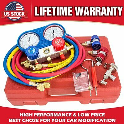 HVAC AC Refrigeration Kit A/C Manifold Gauge Set Air R12 R22 R134a 410a R404z US