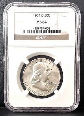 1954-D 50c Franklin SILVER Half Dollar NGC MS64