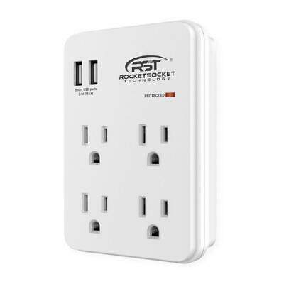 CRST 4-OUTLETS WALL Tap (900 Joules) Surge Protector Outlet Extender with