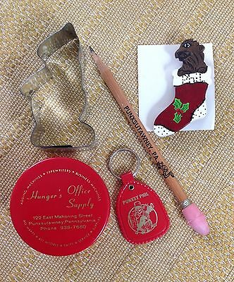 Lot of Punxsutawney Phil Groundhog Souvenirs Cookie Cutter Key Chain Pin Pencil
