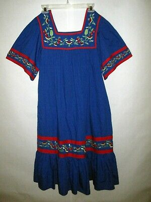 39c06b47c87 Go Softly Patio Dress Sz S Embroidered Fruit Pockets 100% Cotton House Dress
