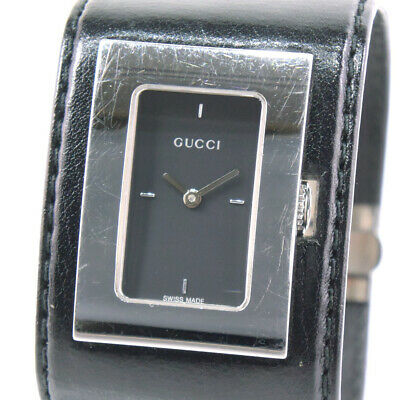 306274473ef AUTHENTIC GUCCI 7800L Bangle watch Watches Silver black Stainless Steel le.