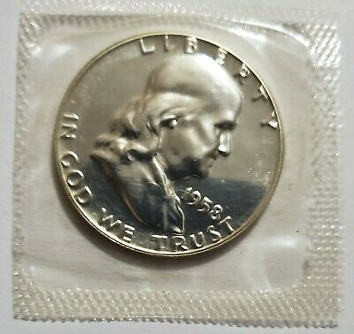 1958 Franklin Silver Half Dollar Gem Proof Condition In Mint Cello US Coin