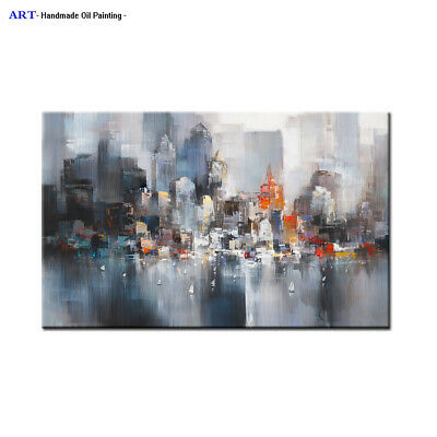 Large Wall Art Modern Contemporary Decor city Abstract Oil painting On Canvas