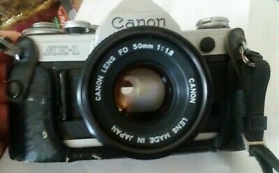 Canon AE-1 35mm Film Manual Camera w/ 50mm F1.8 Lens and half case