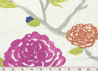 Asian Influence Floral Drapery Fabric by Braemore Fabrics Yoshino CL White Tea