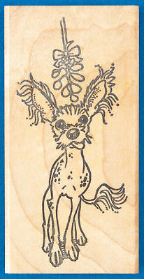 Christmas Lion and Lamb Kissing under the Mistletoe Rubber Stamp  J19401 WM