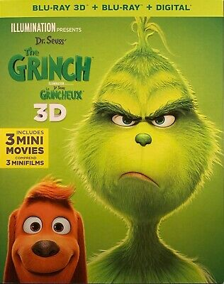Dr. Seuss' The Grinch 3D ( 2D/3D Blu-ray/Digital ) with Slipcover BRAND NEW!!