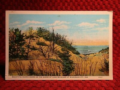 1930'S. Sand Dunes On Shore Of Lake Michigan At Mich. City, Indiana. Postcard F3