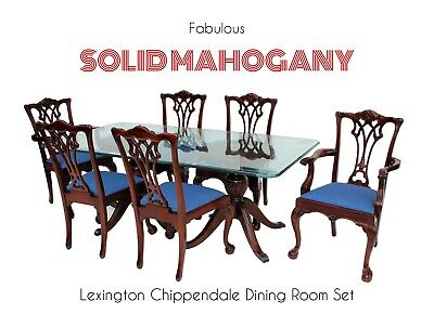 Fabulous LEXINGTON Chippendale SOLID Mahogany Dining Room Set Table 6 Chairs