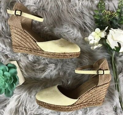 5a750d771dca Gaimo Women s Size 8 Handmade Spanish Wedge Espadrilles Green Leather Strap