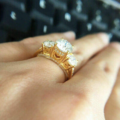 3 Ct Round Cut Diamond Three-Stone Wedding Engagement Ring 10K Real Yellow Gold