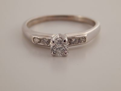 .47 tcw F/SI1 Vintage Round Solitaire Diamond Engagement Ring 14k White Gold