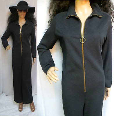 Rare 60'S Lofties By Lawrence Black Zip Front Utility Style Jumpsuit Romper