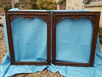 Antique French: Pair of Solid Oak Frame, Carved Decorations, 19th