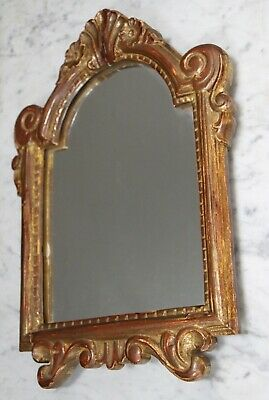 Antique carved wood baroque 18th century wall mirror original French gilt frame