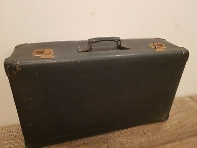 Vintage Suitcase - Dark Green with With Latches and Lock