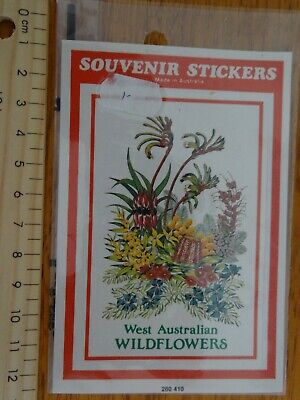 1 x RETRO WEST AUSTRALIAN WILD FLOWERS COLLECTABLE SOUVENIR STICKER LABEL