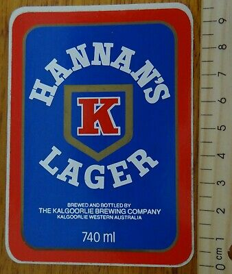 1 x 740ml HANNAN'S LAGER KALGOORLIE WESTERN AUSTRALIA COLLECTABLE STICKER