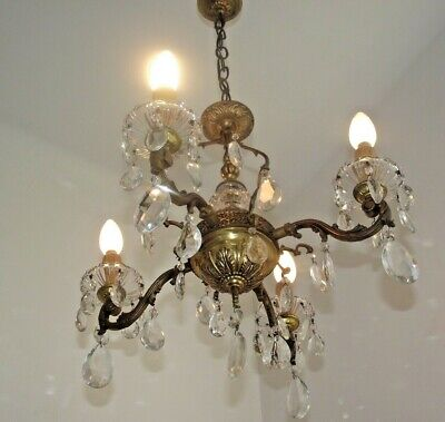 Beautiful French Antique Brass and Glass Orb Style 4 Arm Crystal Chandelier 1096