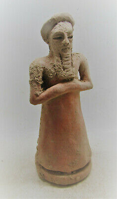 Scarce Circa 3000-2000Bce Ancient Near Eastern Terracotta Worshipper Statuette