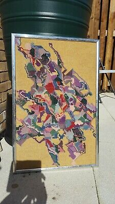 Vintage Retro Mid Century 1970s Abstract modernist  welsh Wool Tapestry Picture