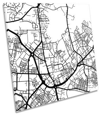 Oldham City Street Map Picture CANVAS WALL ART Square Print