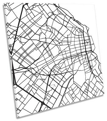 Buenos Aires City Street Map Picture CANVAS WALL ART Square Print