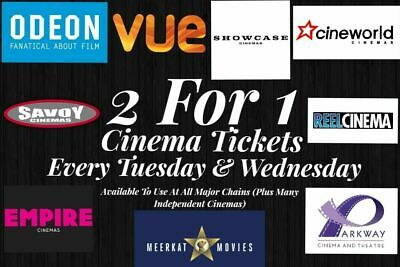 2x 2 for 1 Cinema Tickets Code for Tuesday 26th March or Wednesday 27th March