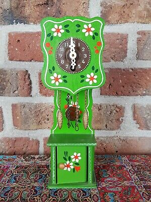 Vintage Black Forest Mini Grandfather Clock, fully functional